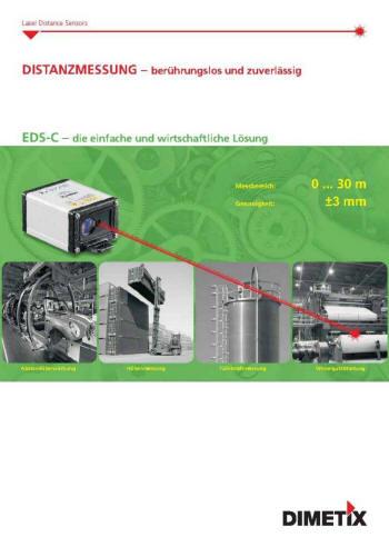 Mit dem EDS-C Distanz-Sensor messen Sie berührungslos absolute Distanzen bis 30m. Wartungsfrei messen Sie damit auf natürliche Oberflächen mit einer Genauigkeit von 3mm. Sie ermitteln die Position von schwer zugänglichen Objekten und solchen mit sehr hohen Oberflächentemperaturen. Ebensoeinfach und exaktmessen Sie Distanzen inagressiver Umgebung. Die Anwendung in novativster Lasertechnologie ermöglicht eine sehrkompakte Bauform,was eine platzsparende Montage erlaubt. Die EDS-C Distanz-Sensoren verfügen über ein robustes Aluminiumgehäuse der Schutzklasse IP65. Weiter können diese Distanz-Sensoren bei Umgebungstemperaturen von-10°C bis +50°C betrieben werden. Das hervorragende Preis/ Leistungsverhältnis ist einweiteres Merkmal des EDS-C Distanz-Sensors.Der elektrische Anschluss der EDS-CDistanz-Sensoren erfolgt übereinen standardisierten 5-poligen M12 Sensorstecker. Für die Messwertausgabe steht eins kalierbarer Analogausgang zur Verfügung, womit eine kostengünstige Anbindung an einebeliebige Steuerung sichergestellt ist.